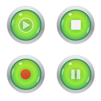 Zestaw odtwarzacz multimedialny na błyszczące guziki.