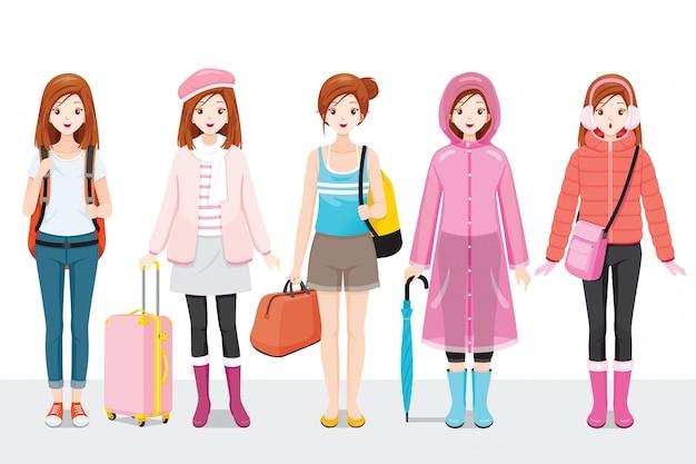 Zestaw odzież kobieta ubrana w różnych sezonach