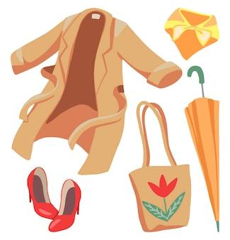 Zestaw odzieży wiosennej damskiej na białym tle. rysunek płaszcza, szala, butów, torby ekologicznej, parasola. ręcznie rysowane ilustracje wektorowe. kolorowe gryzmoły kreskówek. elementy do projektowania, karty, druku, wystroju.