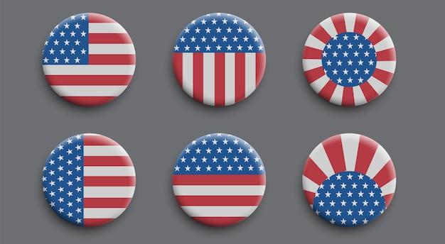 Zestaw odznak 3d z amerykańską flagą