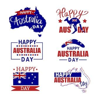 Zestaw odznak australii. zestaw ikon australii, flaga, kangura. mapa australii z flagą