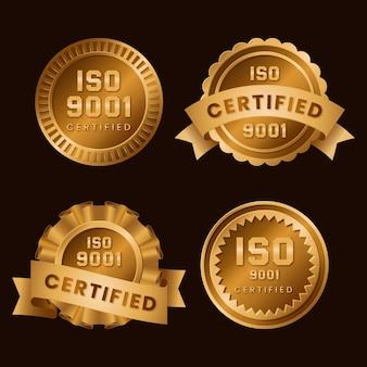 Zestaw odznak certyfikacyjnych iso