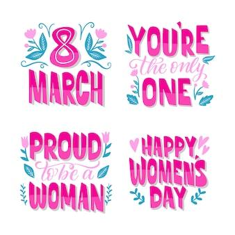 Zestaw odznak dzień kobiet napis