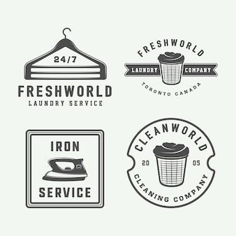 Zestaw odznak emblematów logo vintage do czyszczenia prania lub usługi żelazka