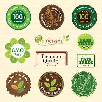 Zestaw odznak emblematowych dla owoców i warzyw roślinnych o jakości ekologicznej i niechemicznej oraz etykiety z gwarancją fair trade