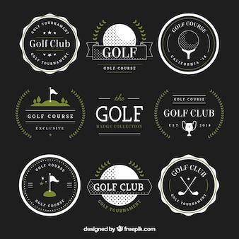 Zestaw odznak golfowych w stylu płaski