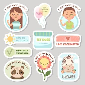 Zestaw odznak kampanii szczepień