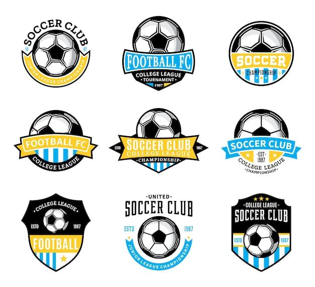 Zestaw odznak klubu piłki nożnej (piłka nożna) wektor