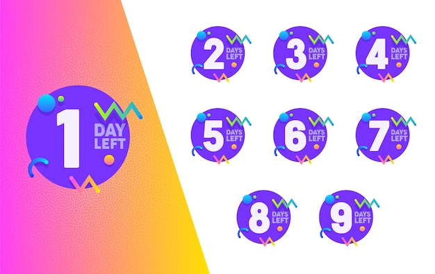 Zestaw odznak koła fioletowy licznik dnia po lewej stronie. zakupy typografia baner geometryczny liczyć dla firmy rabat oferta płaska ilustracja wektorowa