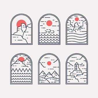 Zestaw odznak krajobrazowych w stylu liniowym. projekt odznaki i godła. ilustracja logo.