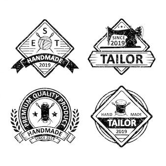 Zestaw odznak krawców vintage, emblematów i logo