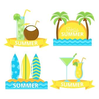 Zestaw odznak letnich płaska konstrukcja