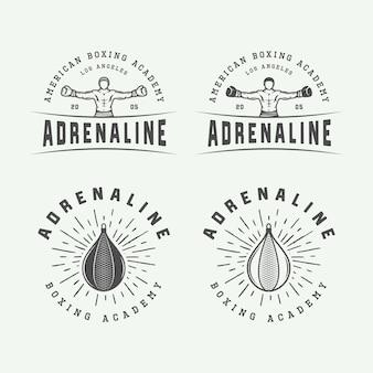 Zestaw odznak logo boks i sztuk walki rocznika i etykiety w stylu retro monochromatyczne