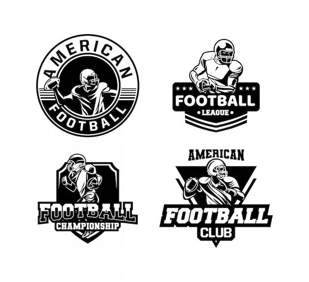 Zestaw odznak lub logo mistrzostw futbolu amerykańskiego w czerni i bieli