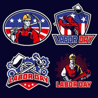 Zestaw odznak na dzień pracy