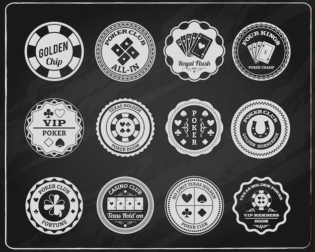 Zestaw odznak na tablicy pokerowej