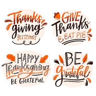 Zestaw odznak napis szczęśliwego dziękczynienia