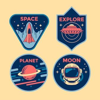 Zestaw odznak naszywek misji kosmicznej i emblematów logo