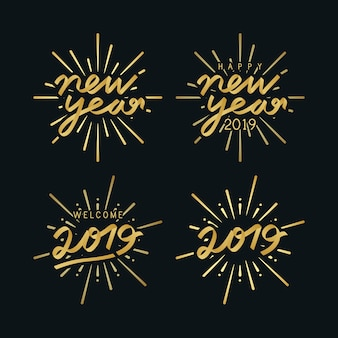 Zestaw odznak odznaka 2019 nowego roku