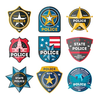 Zestaw odznak policji