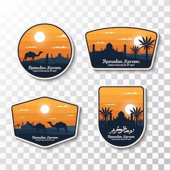 Zestaw odznak ramadan kareem i etykiet