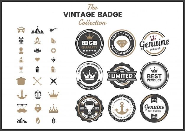 Zestaw odznak retro vintage
