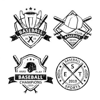 Zestaw odznak rocznika baseballu, emblematów i logo