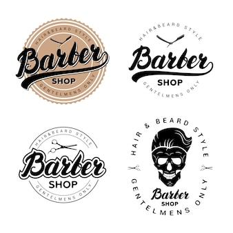 Zestaw odznak rocznika fryzjera, emblematów, etykiet lub logotypów.