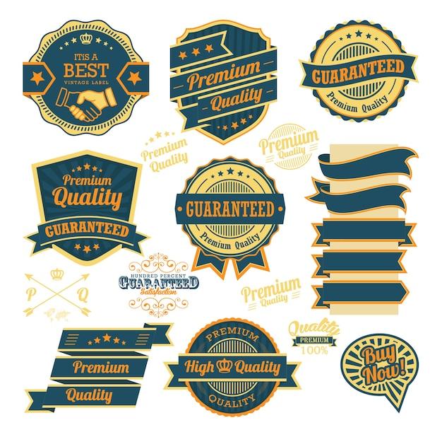 Zestaw odznak rocznika i elementy projektu etykiety
