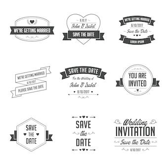 Zestaw odznak ślubnych. retro / vintage elementy projektu typograficznego na zaproszenie na ślub