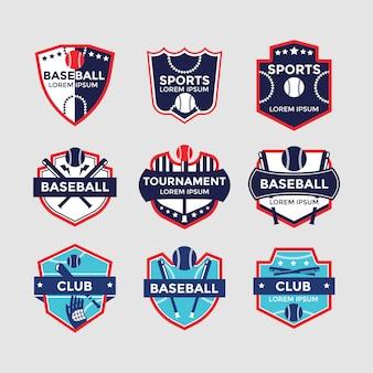 Zestaw odznak sportowych baseball dla klubu sportowego