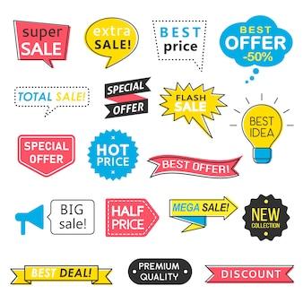 Zestaw odznak sprzedaży, dymki i wstążki, mega strzały sprzedaży, etykiety z ofertami specjalnymi, banery na najlepszej cenie. kolekcja znaków promocyjnych.