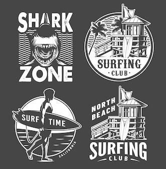 Zestaw odznak surfowania monochromatyczne vintage