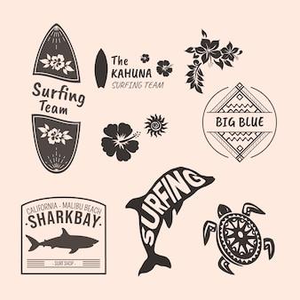 Zestaw odznak surfowania tematyczne