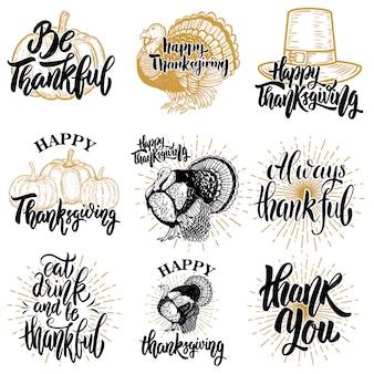 Zestaw odznak szczęśliwego dziękczynienia. turcja, dynia. element plakatu, godło, znak. ilustracja
