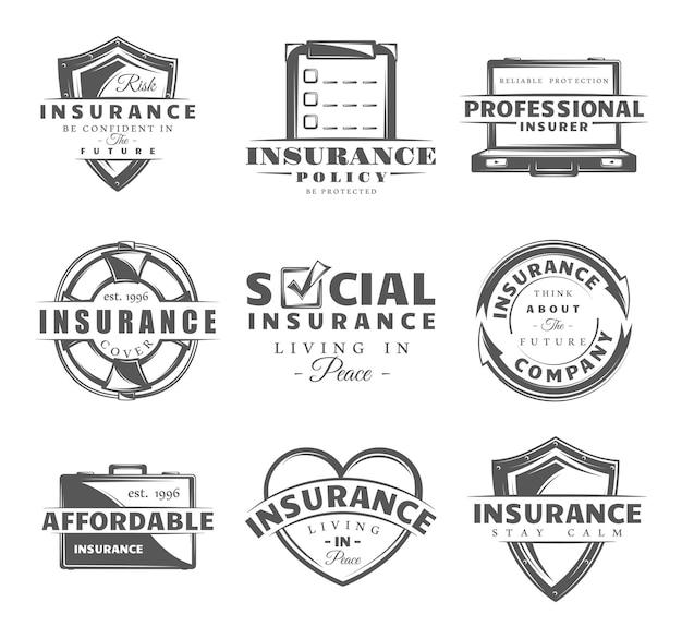 Zestaw odznak ubezpieczeniowych. zbiór symboli ubezpieczenia: tarcza, koło ratunkowe, ochrona.