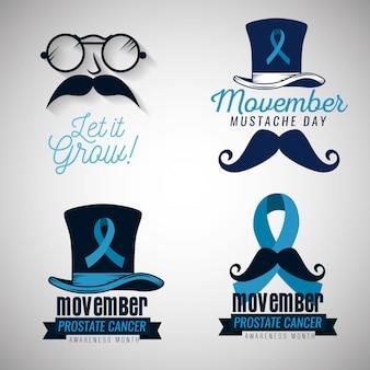 Zestaw odznak w okularach i wąsach z niebieską wstążką