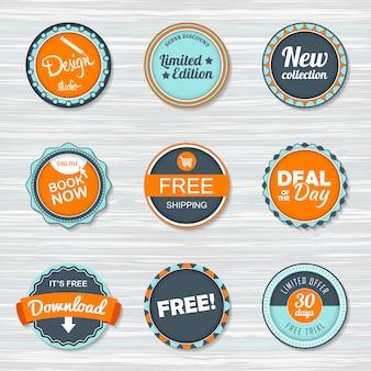 Zestaw odznak w stylu vintage: bezpłatna wysyłka, darmowa, pobierz, nowa kolekcja, oferta dnia, zarezerwuj teraz.