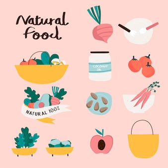 Zestaw odznak żywności naturalnych i ekologicznych