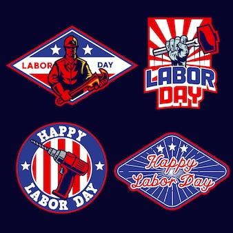 Zestaw odznaka dzień pracy