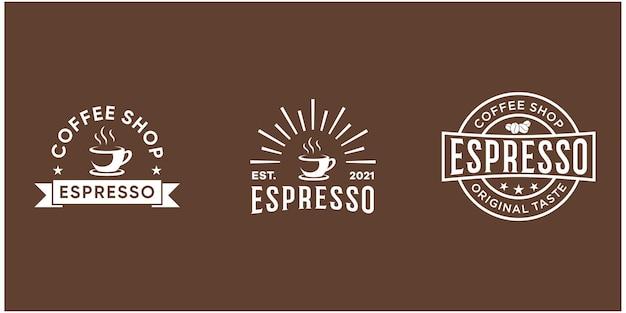 Zestaw odznaka kawy w stylu retro