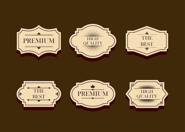 Zestaw odznaka lub logo, etykieta, kolekcja elementów projektu, ilustracja