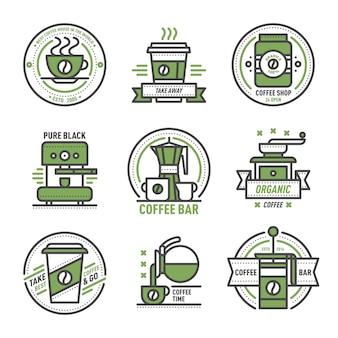 Zestaw odznaka lub logo kawy monogram