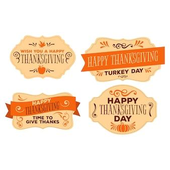 Zestaw odznaka vintage święto dziękczynienia