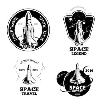 Zestaw odznaki, emblematy i logo astronautów kosmicznych. statek z etykietą kosmiczną, logo statku kosmicznego, emblemat statku kosmicznego, statek kosmiczny start