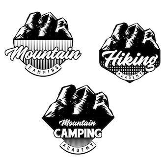 Zestaw odznaki klubu kolarstwa górskiego i campingu. wektor
