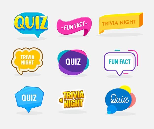 Zestaw odznaki quiz, ciekawostki i nocne ciekawostki w kształcie dymku. płaskie ilustracja kreskówka