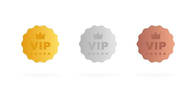Zestaw odznaki vip w kolorze złotym, srebrnym i brązowym. okrągła etykieta z trzema poziomami vip.