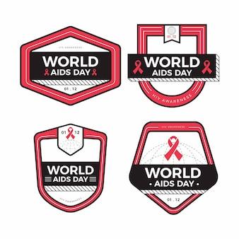 Zestaw odznaki wstążki dzień pomocy świata