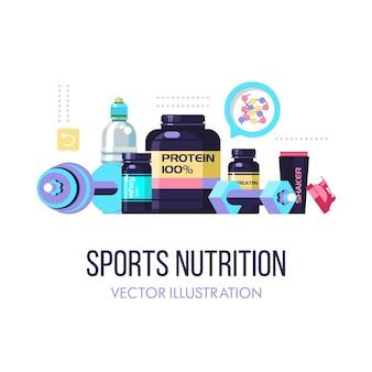 Zestaw odżywek i akcesoriów sportowych.